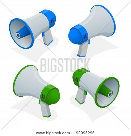 Isometric set of megaphone, bullhorn, loudspeaker isolated on white background. Digital marketing business man holding megaphone for website and promotion banners.