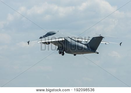 BERLIN GERMANY - JUNE 03 2016: Demonstration flight of military transport aircraft Antonov An-178. Exhibition ILA Berlin Air Show 2016