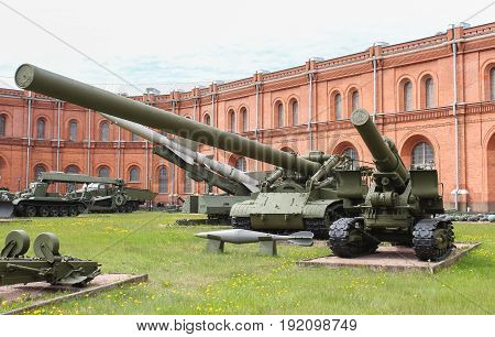 St. Petersburg Russia - 28 May, Self-propelled mortar installation Oka, 28 May, 2017. Military History Museum of combat equipment in St. Petersburg.