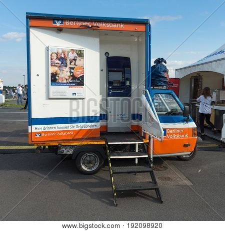 BERLIN GERMANY - JUNE 03 2016: Mobile ATM of the bank