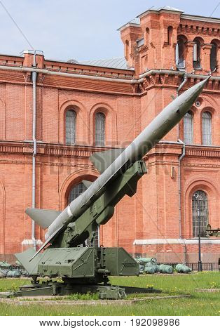 St. Petersburg Russia - 28 May, Launcher with a rocket, 28 May, 2017. Military History Museum of combat equipment in St. Petersburg.