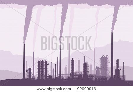 Oil and gas refinery or chemical plant with smoking chimneys. Crude oil processing and refining. Vector illustration.