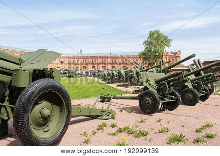 St. Petersburg Russia - 28 May, Museum exposition of artillery,28 May, 2017. Military History Museum of combat equipment in St. Petersburg.