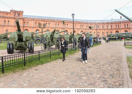 St. Petersburg Russia - 28 May, Visitor of the Military History Museum,28 May, 2017. Military History Museum of combat equipment in St. Petersburg.
