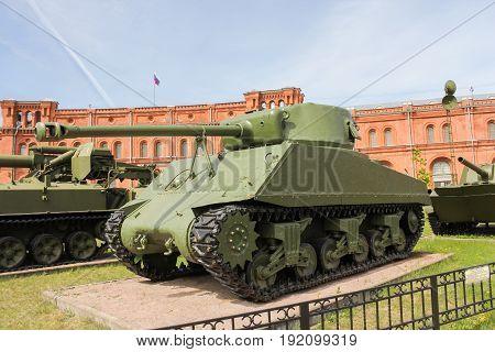 St. Petersburg Russia - 28 May, Sherman Medium Tank,28 May, 2017. Military History Museum of combat equipment in St. Petersburg.