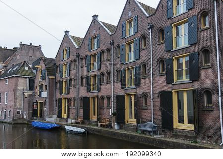 Beautiful houses with reflection on the channel Brugge, Belgium