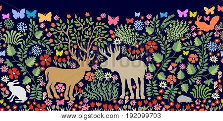 Fantasy animals in the garden. Deer, elk, squirrel, hare, hedgehog, bushes, blooming floral carpet