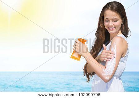 Sun cream woman sunscreen shape closeup person