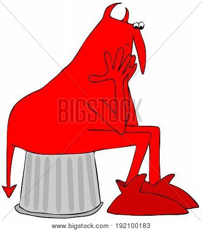 Illustration of a worried red devil sitting on a can propping his head up with hands.