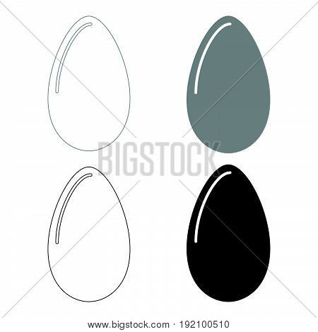 Egg   The Black And Grey Color Set Icon .