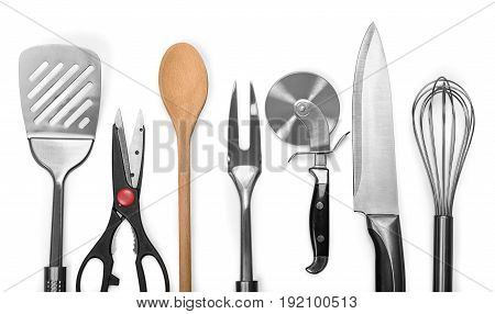 Set kitchen utensils group objects background object
