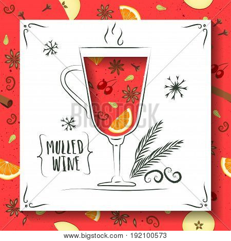 Vector illustration of mulled wine. Square white paper with cut out wineglass. Seamless pattern with seasoning and fruits on background.