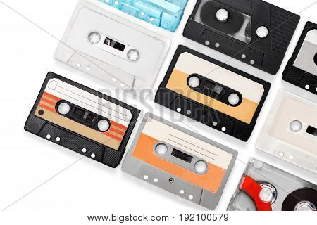Set old audio cassettes red entertainment background