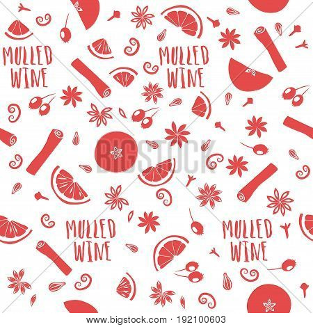 Vector seamless pattern of mulled wine ingredients. Red fruits and seasonings on white background.