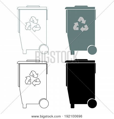 Refuse Bin With Arrows Utilization   The Black And Grey Color Set Icon .