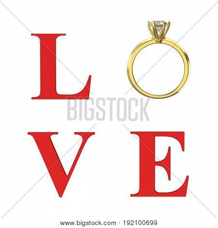 3D illustration isolated red text word love with gold diamond wedding ring on a white background