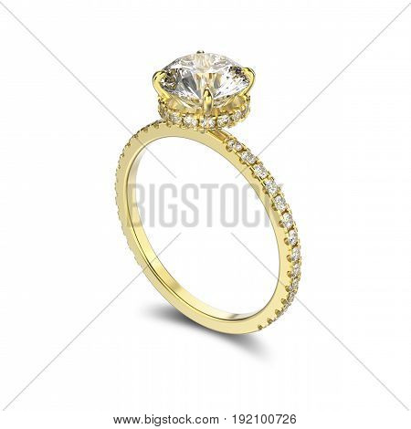 3D illustration yellow gold ring with diamonds with reflection on a white background