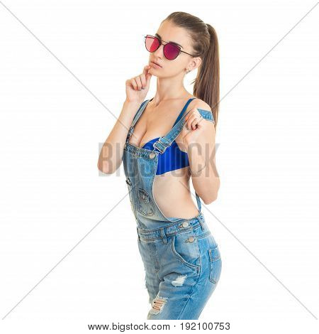 Square portrait of beautiful young girl in jeans clothes with blue bra isolated on white background