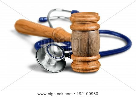 Background stethoscope gavel isolated health board medical