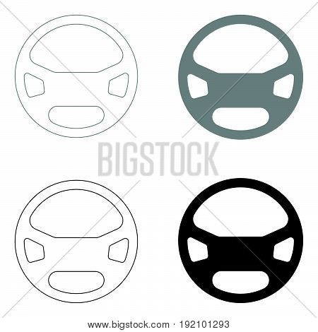 Steering Wheel   The Black And Grey Color Set Icon .