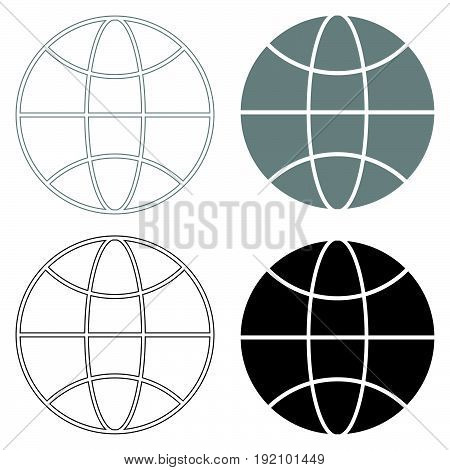 Globe   The Black And Grey Color Set Icon .