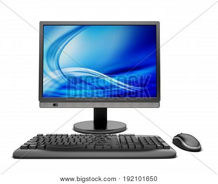 Computer keyboard desktop flat screen image white background