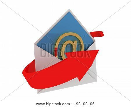 email concept with arrow .  . 3d rendered illustration