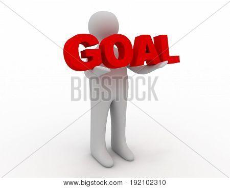 3D man holding word goal . 3d rendered illustration