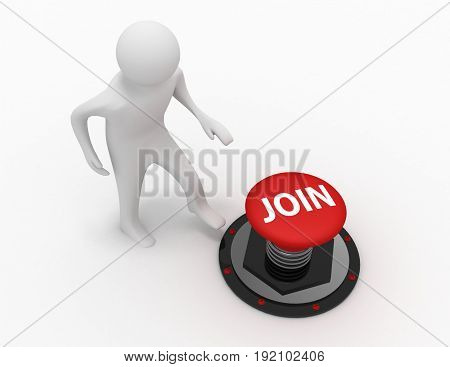 3d man push button join . 3d rendered illustration