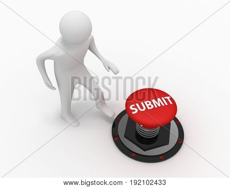 3d man push button submit . 3d rendered illustration
