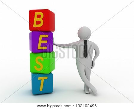 3d rendering of businessman standing with best cubes. 3d white person people man. . 3d rendered illustration