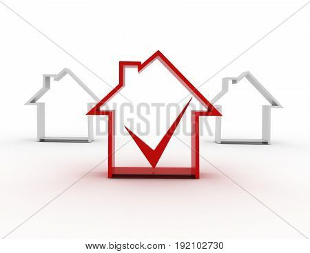 house sumbol with check mark . 3d rendered illustration