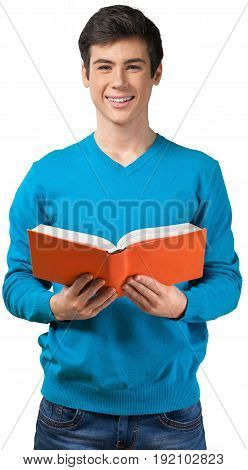 Teenager book toothy smile one person human face youth culture head and shoulders