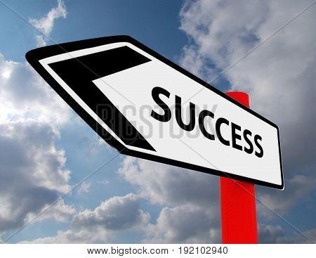success road sign . 3d rendered illustration