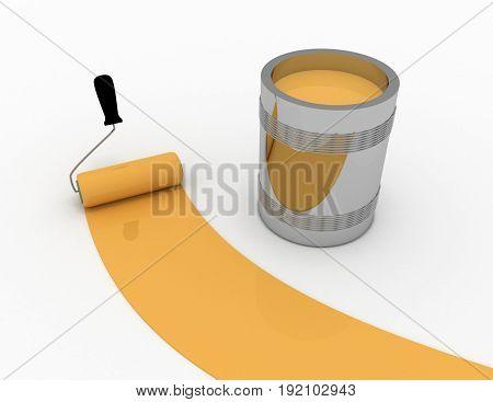 3d orange paint . 3d rendered illustration