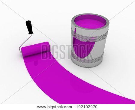 purple paint concept . 3d rendered illustration