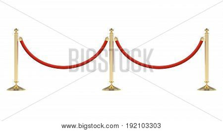 Barriers with red rope line. Red carpet event enterance gate. VIP zone, closed event restriction. Realistic image of golden poles with velvet rope. Isolated on white background. Vector illustration.