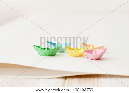 Paper Boats From Color Paper On White