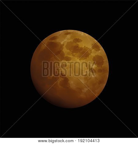 Blood moon, total lunar eclipse - artistic vector illustration of an orange red moon that occurs when the sun, earth, and moon are aligned exactly, with the earth in the middle.