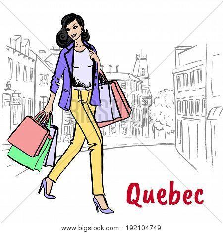 Woman walking on St Jean Street in Quebec, Canada
