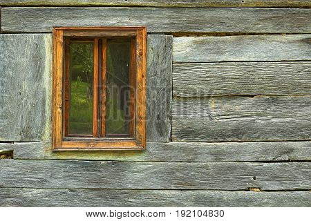 window on old romanian traditional house textural image of wooden facade