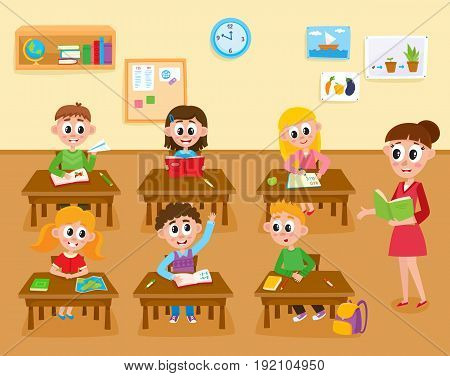 Lesson in elementary, primary school, kids studying and teacher teaching the class, cartoon illustration isolated on white background. Teacher teaching kids in classroom, elementary, primary school