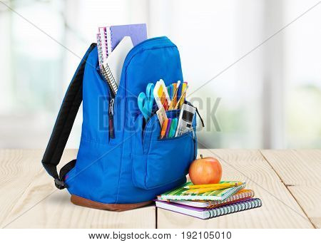Back school backpack back to school art objects school background color