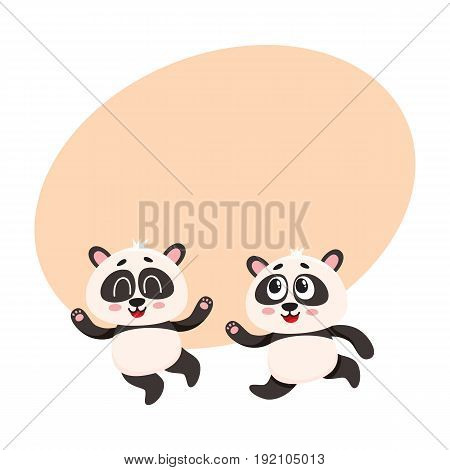 Two cute and funny baby panda characters running, hurrying, jumping happily, cartoon vector illustration with space for text. Couple of cute little panda bear characters, mascots running
