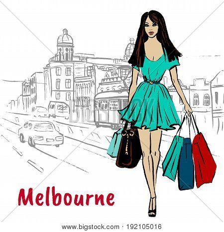 Sketch of woman walking on Chapel street in Melbourne, Australia