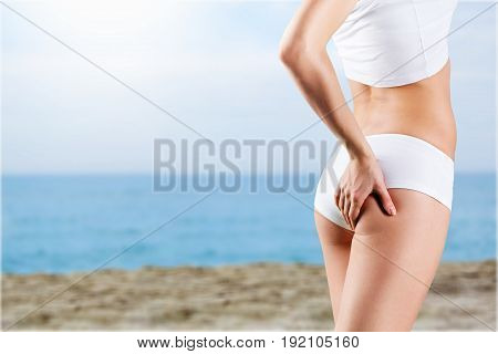 Woman cotton underwear green shape closeup girl
