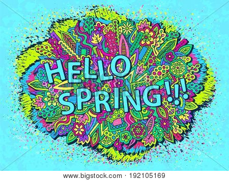 Spring time background. Zentangle doodles wallpaper. Tribal elements ornament. Spring floral texture. Graffiti style wallpaper. Vector illustration for web design or printed products.
