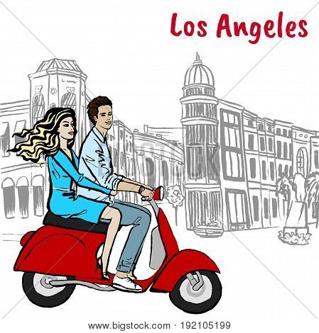 Couple on scooter driving on Rodeo Drive in Los Angeles. Hand-drawn illustration. Fashion sketch