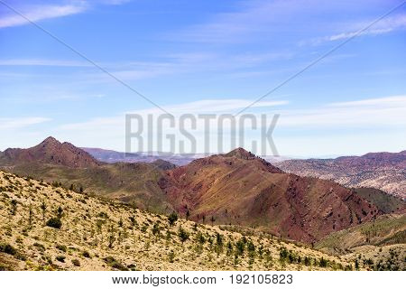 View over the Atlas Mountains from the top of the mountain. Panorama.