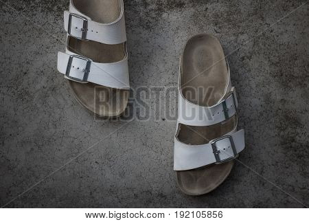 White leather sandals ; Clear white leather sandals on the holidays.